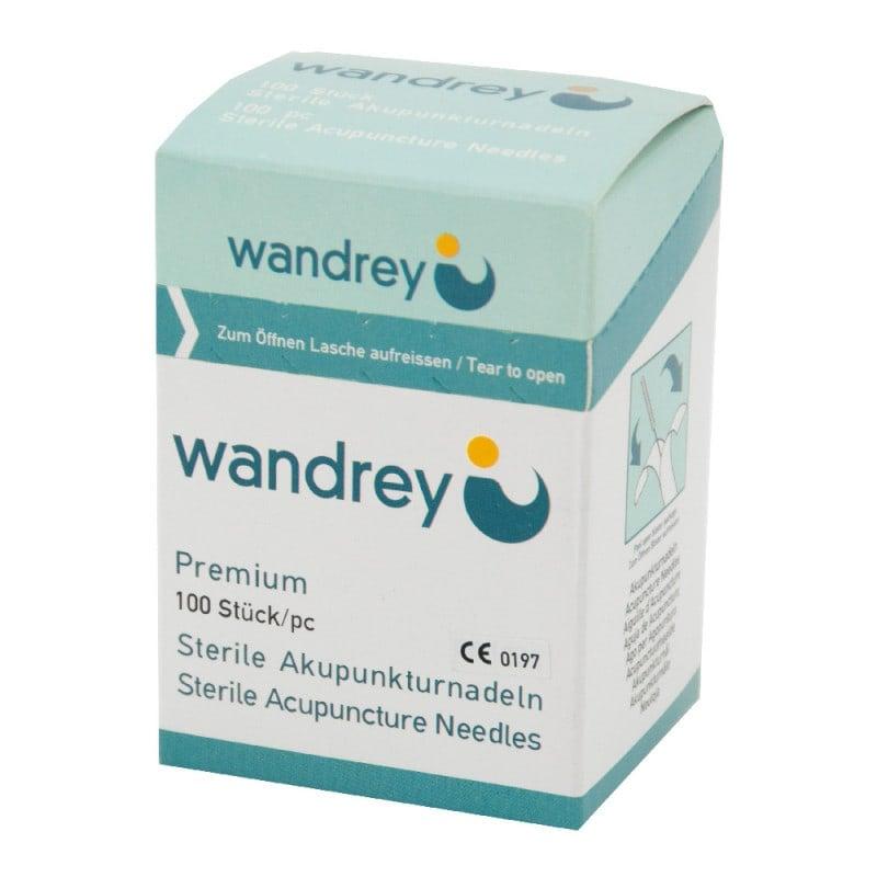 Wandrey Akupunkturnadeln mit Silberwendelgriff und Silikon-Beschichtung