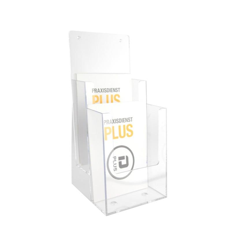 Transparenter Tischprospekthalter mit 2 Fächern