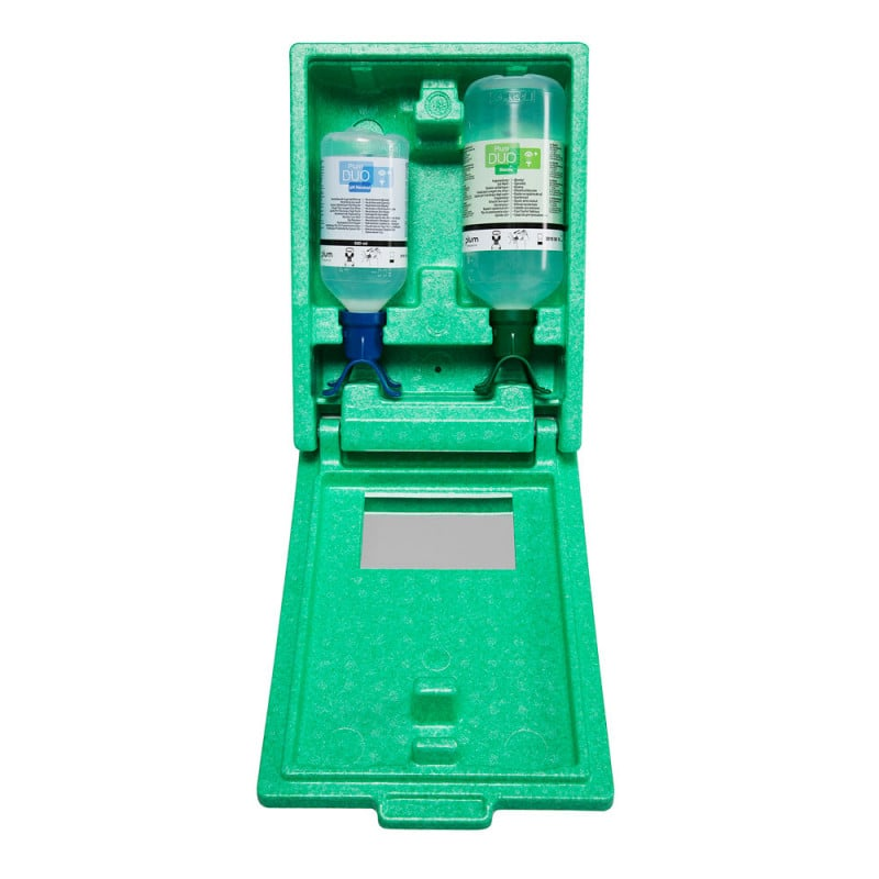 DUO eye rinse station with standard and pH-neutral irrigation solutions
