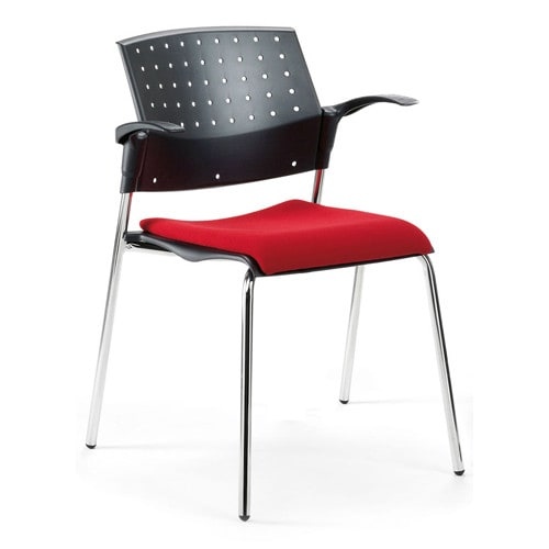 Modern, space-saving stacking chair - armrest available as accessory