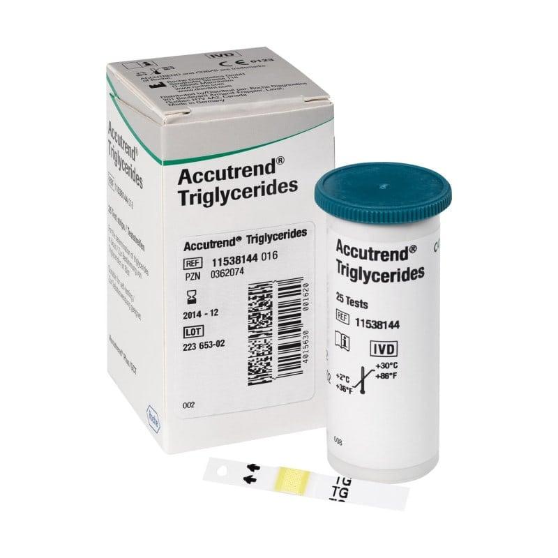 Accutrend Triglyceride Teststreifen - Ein Röhrchen enthält 25 Stück