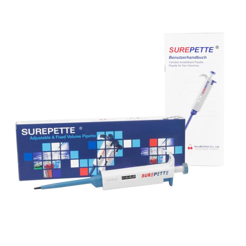 SurePette Kolbenhubpipette, in unterschiedlichen Größen erhältlich