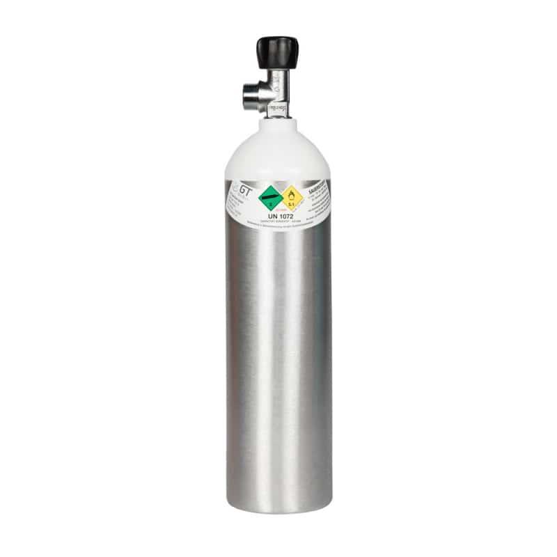 Zuurstoffles 1,8 liter, van aluminium met een vuldruk van 200 bar