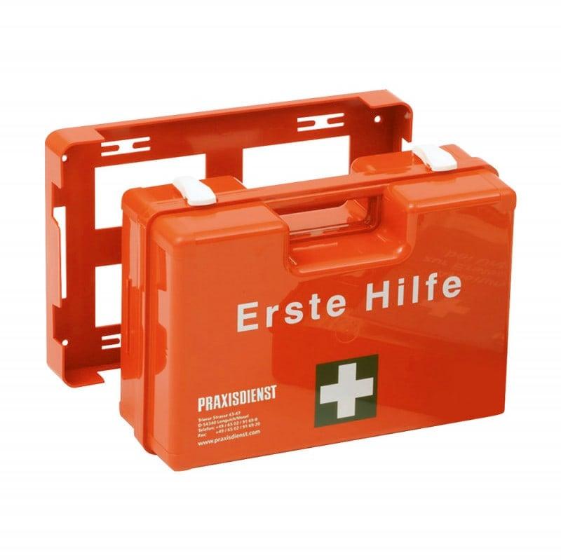 Praxisdienst Erste-Hilfe-Koffer inklusive Wandhalterung und Befüllung