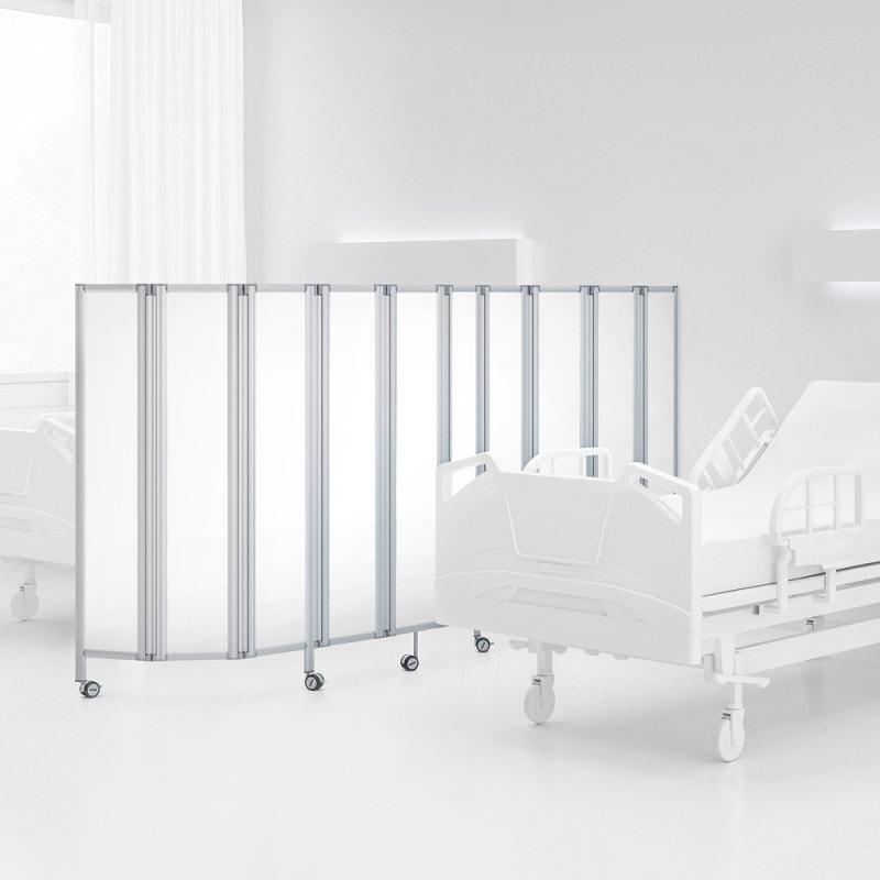 Raumteiler Faltwand von ropimex aus blickdichtem, lichtdurchlässigem Plexiglas