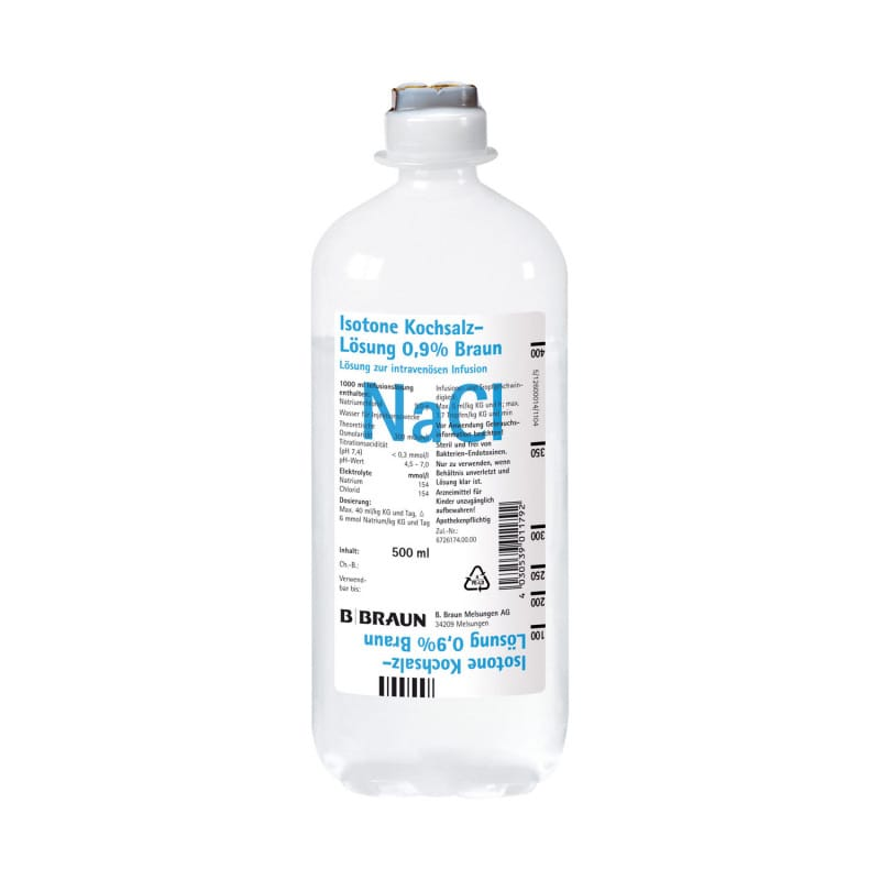 0.9% isotonic saline solution, e.g. for use as a carrier solution