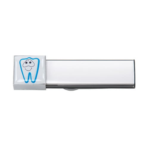 Magnetic name badge for dentists and dental technicians
