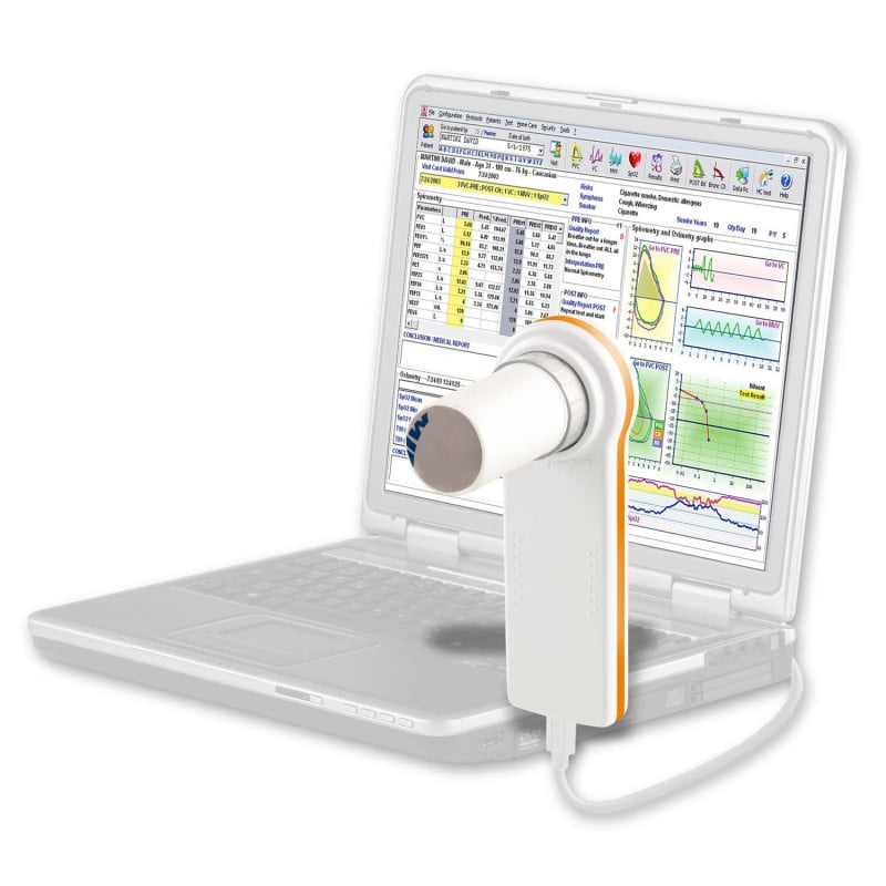 MiniSpir spirometer with WinspiroPro software and USB data transfer