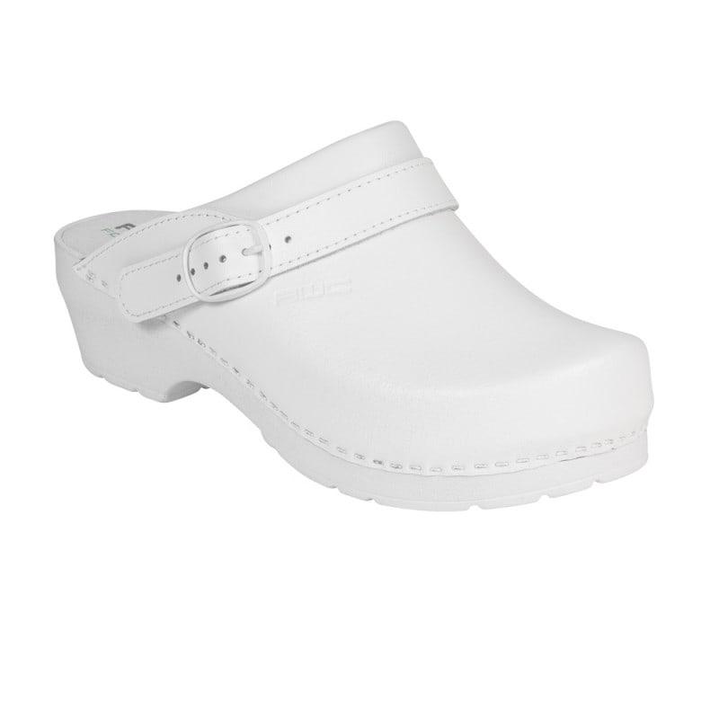 Białe chodaki damskie