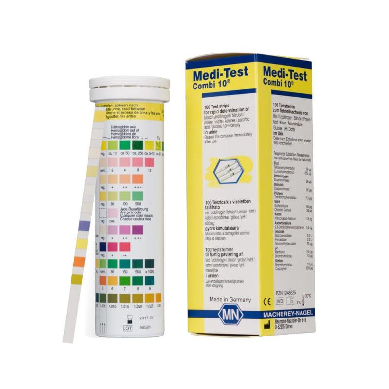 Medi-Test Combi 10, Harnteststreifen | Eine Packung enthält 100 Stück