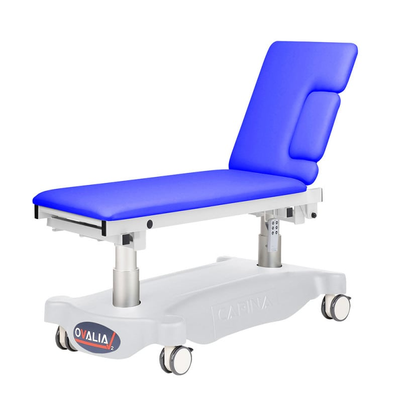 Height-adjustable echocardiography table with adjustable headrest e.g. for Trendelenburg position