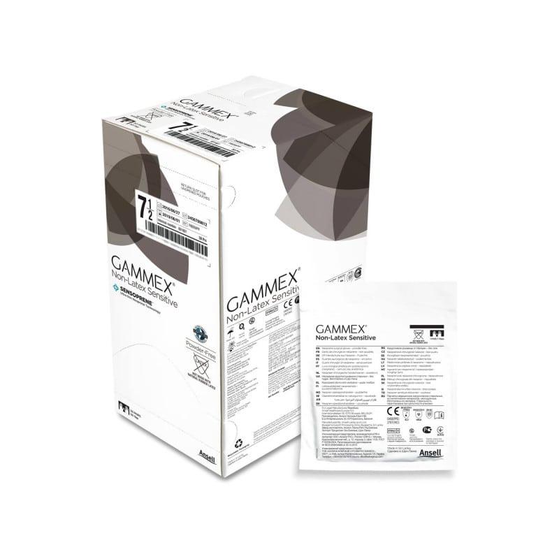 Gammex Non-Latex Sensitive en una caja de almacenamiento con 50 pares