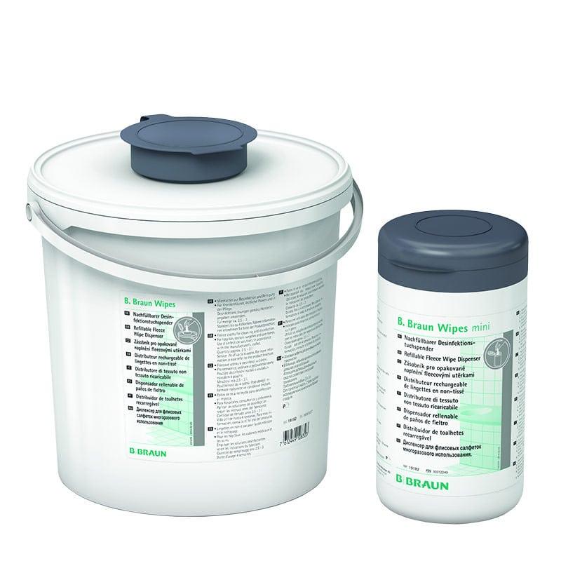 Vliestuchspender zum Befüllen mit Vliestuchrollen und Desinfektionslösung