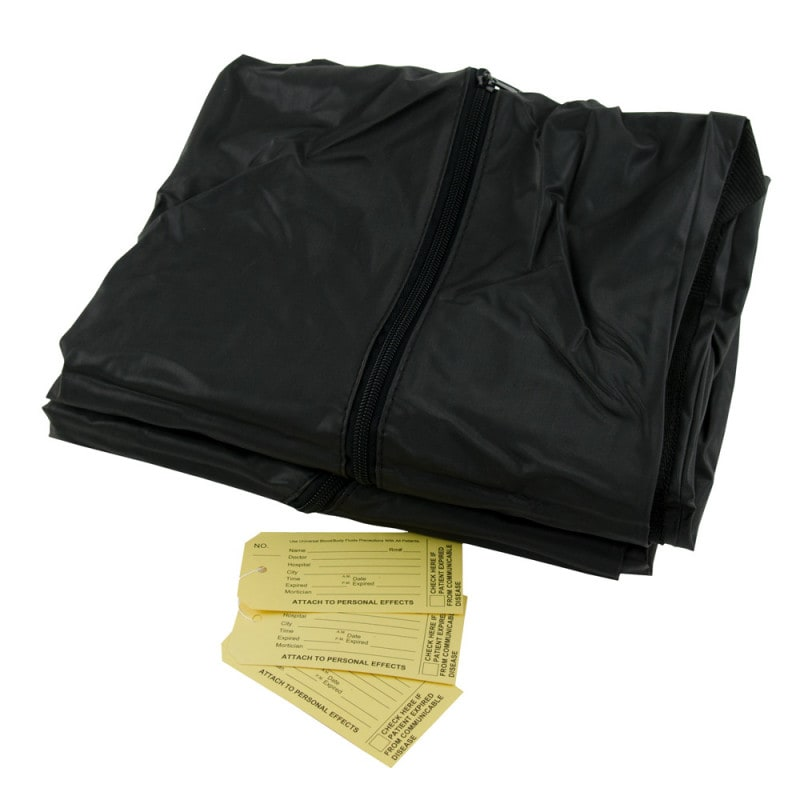 Premium black cadaver bag (body bag) with 6 handles and 136 kg lift capacity