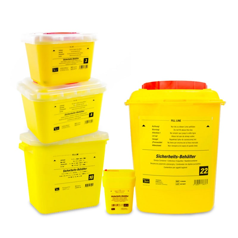 Teqler sharps containers, available in various sizes and models