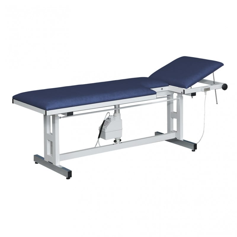 Height-adjustable echocardiography table with silent-running electric motor