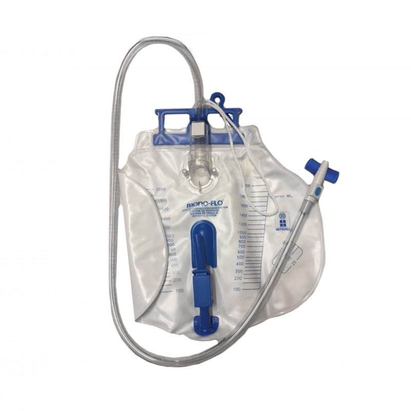 Mono-Flo urine drainage bag with one-way valve and urine sample collection point