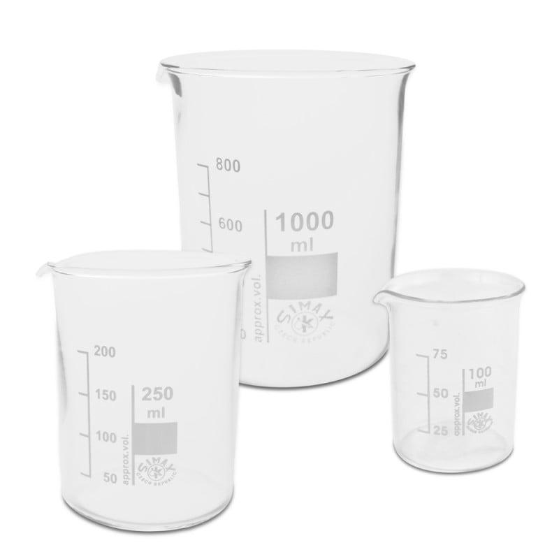 Bechergläser aus chemikalien- und hitzebeständigem Borosilikatglas
