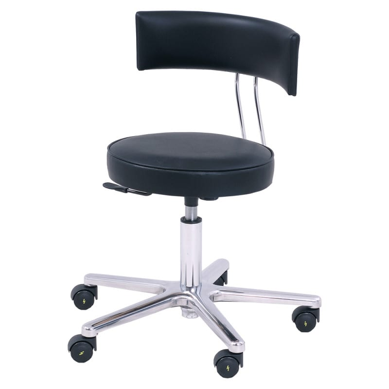 Surgical chair with electrically conductive upholstery, double-castors