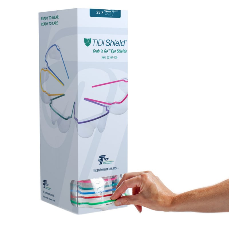 TIDIShield® Grab ´n Go™ safety glasses in practical dispenser | 25 pcs.