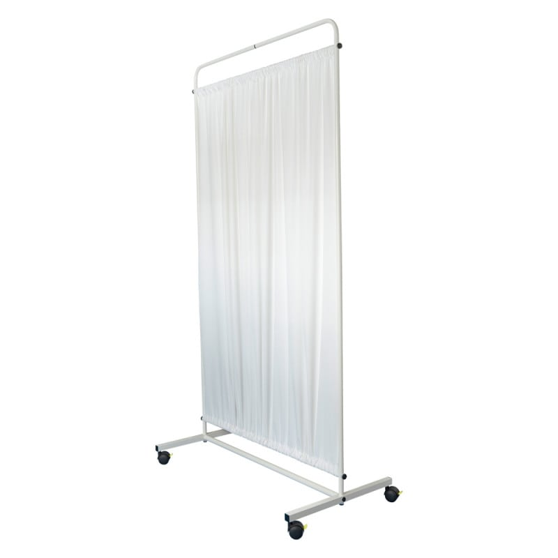 Mobile privacy screen with flame-retardant curtain