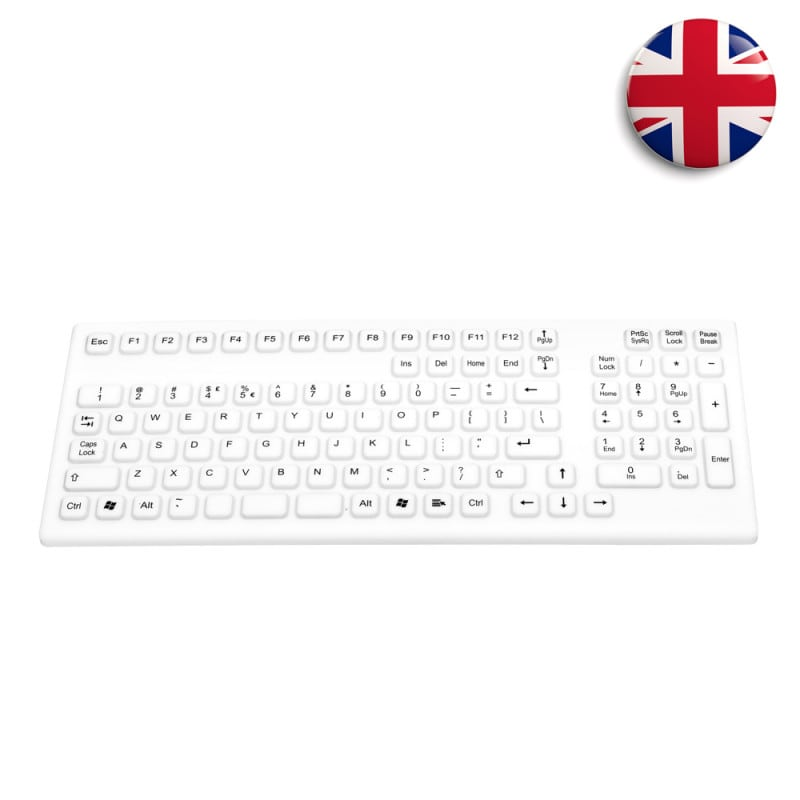 Silicone keyboard with numeric keypad for use in healthcare facilities