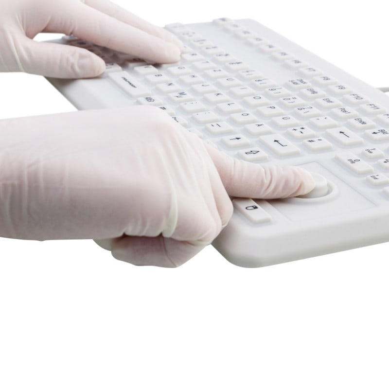 Waterproof silicone keyboard for use in medical facilities