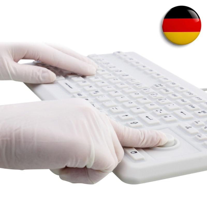 Teclado de silicona con ratón Trackball, para uso médico