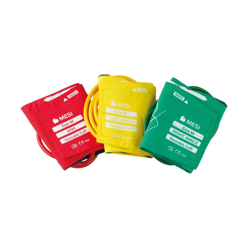 MESI ABPI MD cuff set, containing 3 colour-coded cuffs