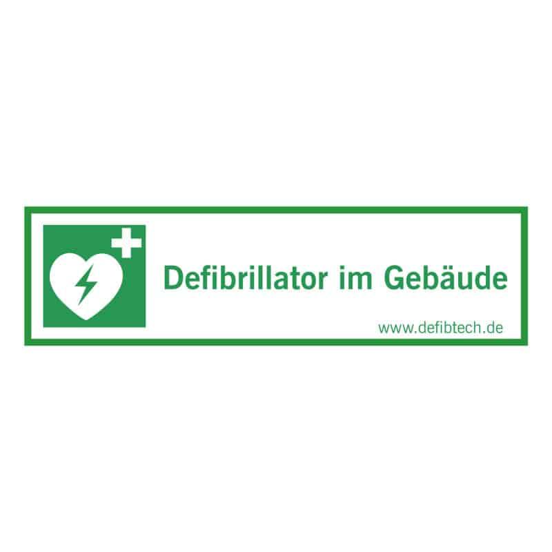 "Aufkleber ""Defibrillator im Gebäude"", 27 cm x 10 cm, innenklebend"