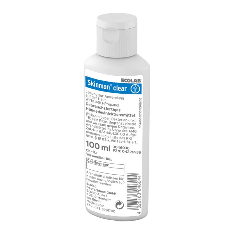 Skinman Clear hand sanitiser; available in 100 ml to 5 Litre bottles