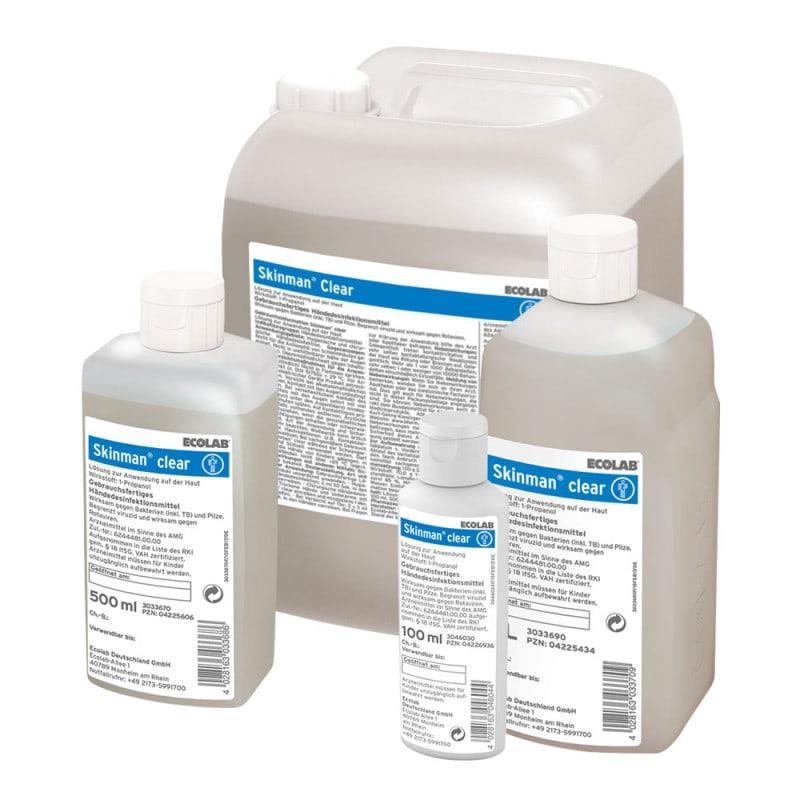 Skinman Clear - désinfection des mains sans parfum et sans couleur d'Ecolab
