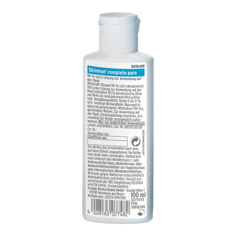 Skinman Complete Pure - Desinfectante de manos virucida de Ecolab