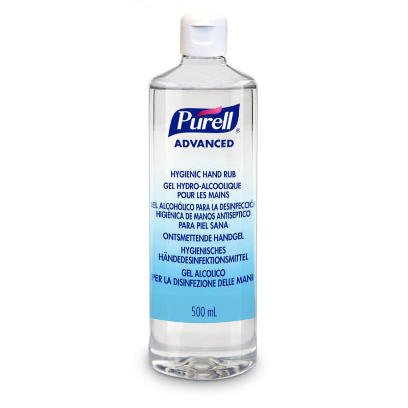 Desinfectante de manos Purell Advanced en forma de gel con ingredientes activos hidratantes