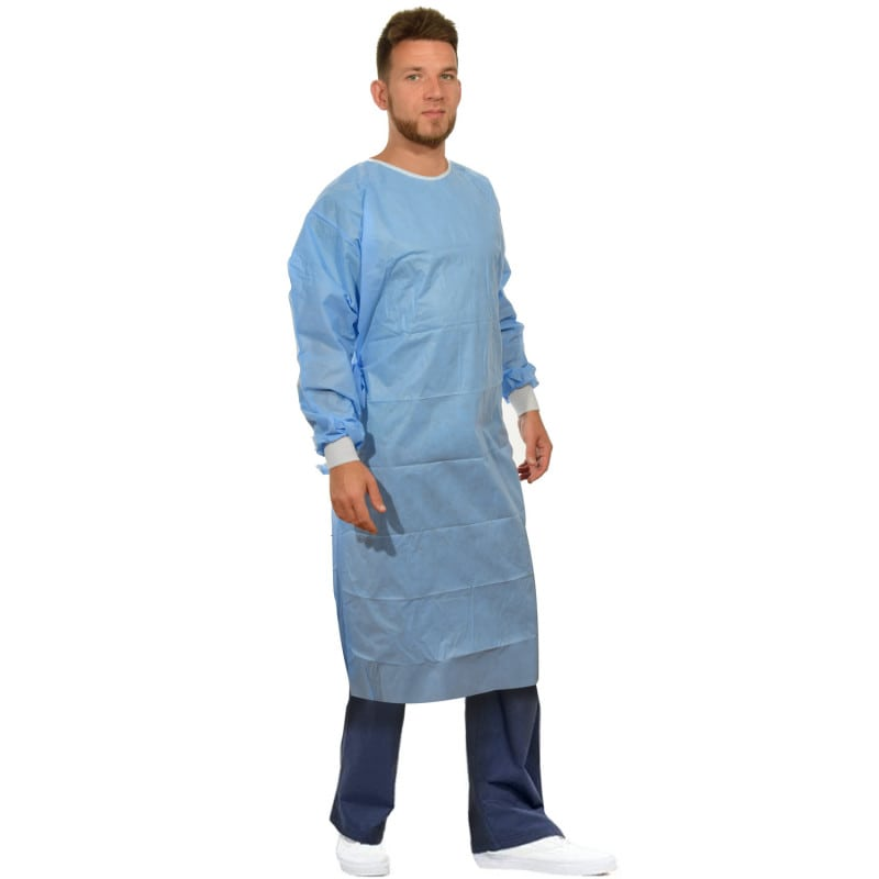 Standard surgical gown made from breathable, liquid-proof material