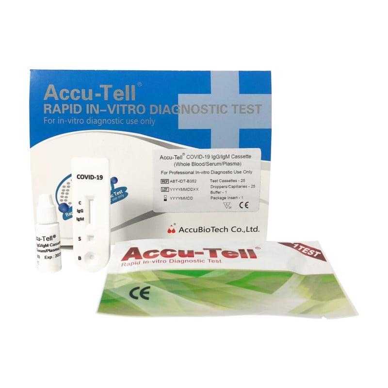 Accu-Tell COVID-19 sneltest voor de detectie van IgG- en IgM-antilichamen