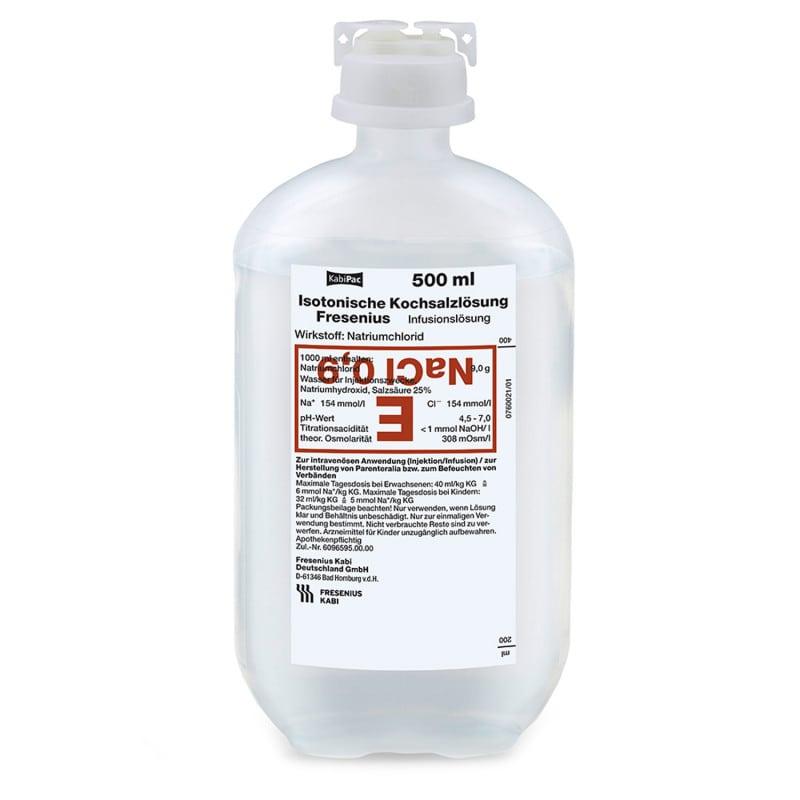 Isotonische Kochsalzlösung Fresenius, erhältlich in verschiedenen Abpackungen
