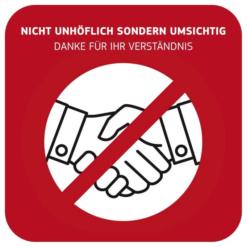 Hinweisschild «Händeschütteln vermeiden» zur Verringerung der Infektionsgefahr
