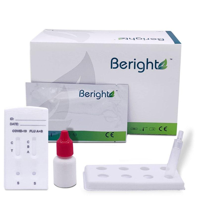 Test combiné antigène Covid-19 de Beright et grippe à partir de prélèvements nasaux/pharyngiens