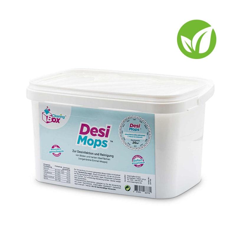DesiMops disinfectant mops in a refillable dispenser box