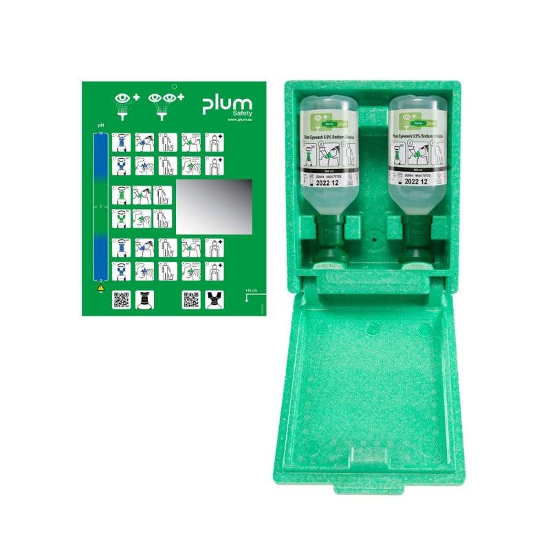 Het Plum oog-EHBO-station met wandbox is verkrijgbaar in verschillende uitvoeringen