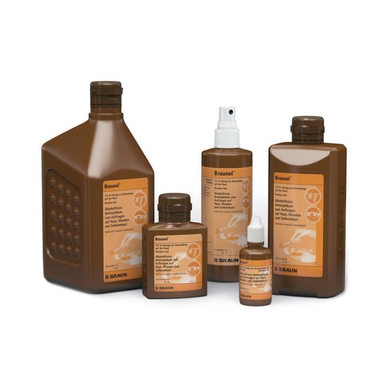 Antiséptico para la piel y la membrana mucosa de Braunol disponible en diferentes envases