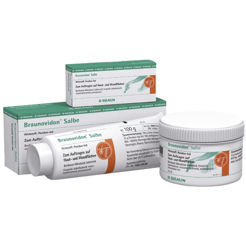 Braunovidon iodine ointment for superficial wound care, available in various tube sizes