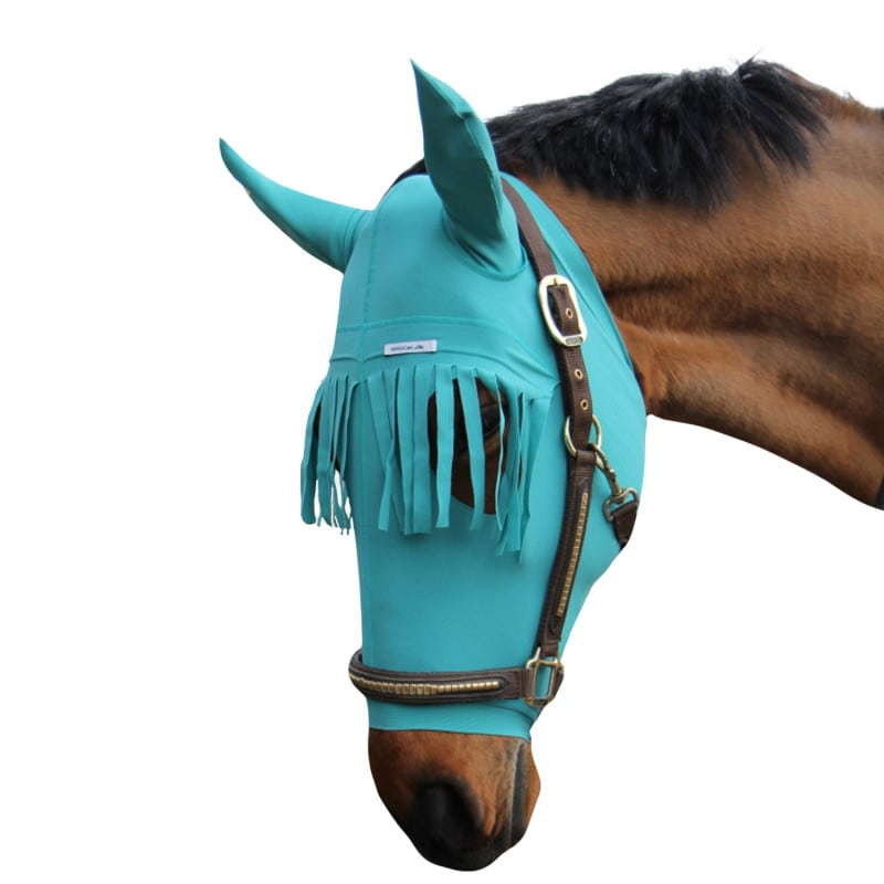 Head protection for horses with fringe, available in three sizes