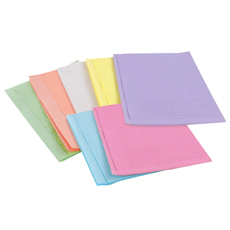 Coloured dental napkins made of 2-ply cellulose with polyethylene layer