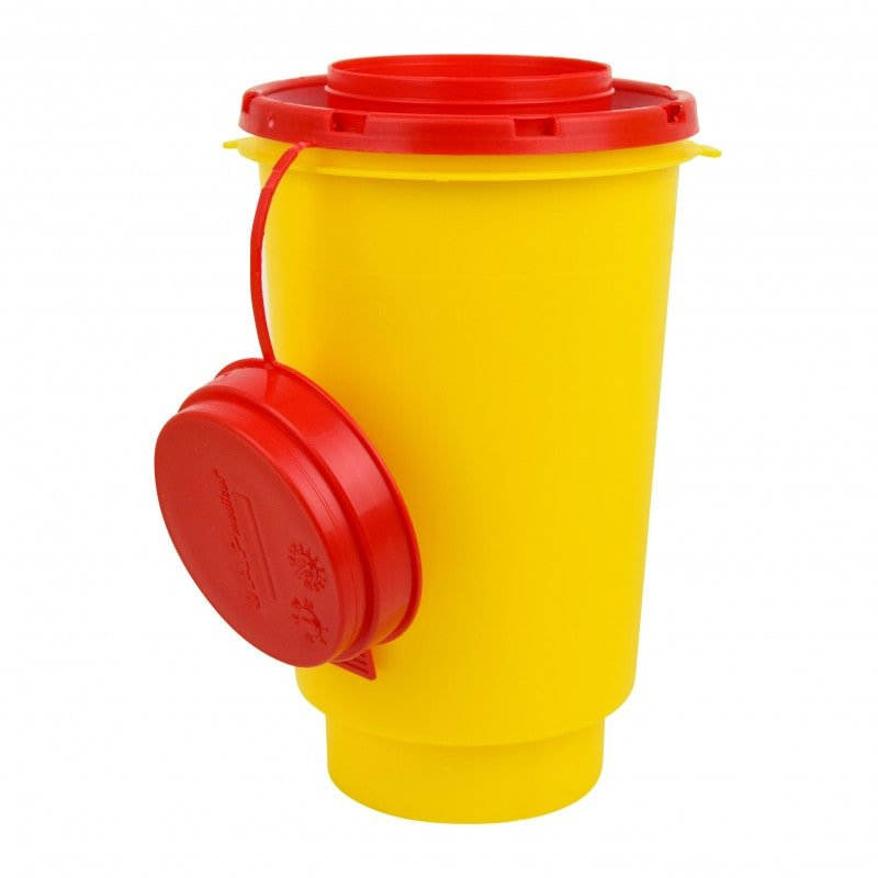 Sharps container with wiper strips in the lid, 600ml