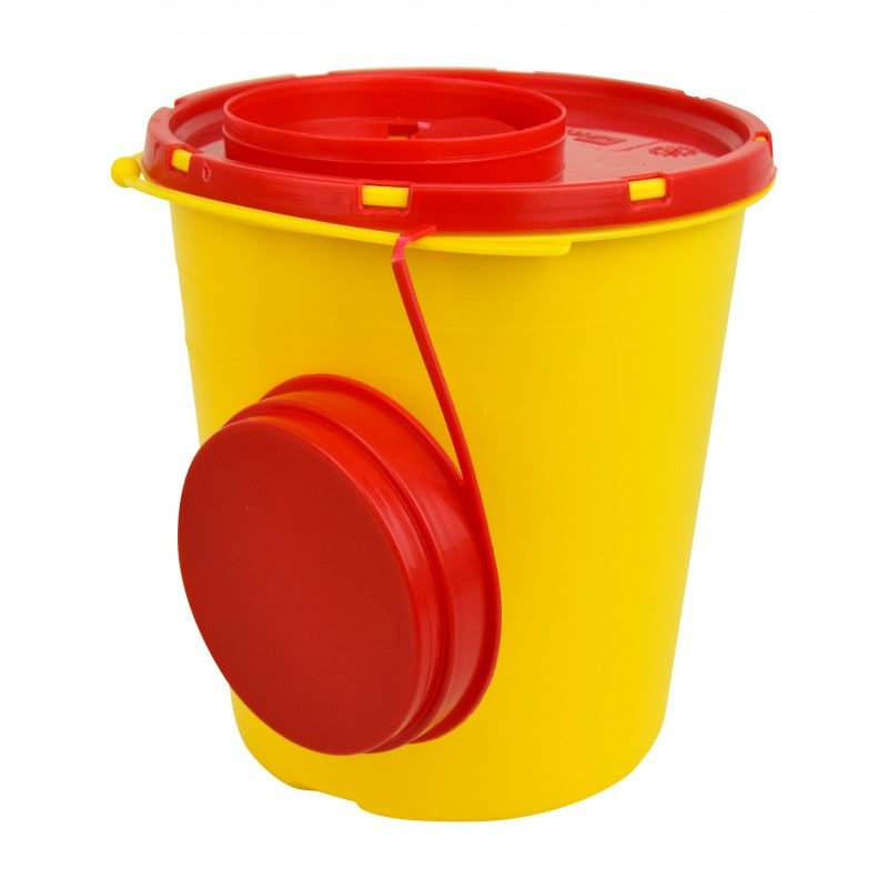 Sharps container with wiper strips in the lid, 1500ml