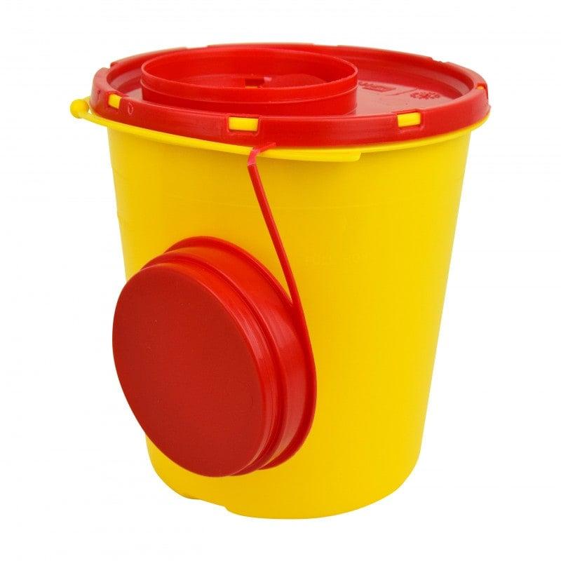 Kanülenabwurfbehälter mit Abstreif-Schlitzen im Deckel, 1500 ml