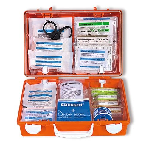 Praxisdienst First Aid Kit, comes with contents and wall bracket
