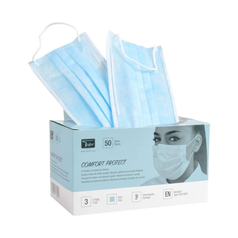 Dental-Mundschutz aus Vlies mit langem Nasenbügel, dreilagig